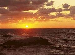 夕日が美しい江差の海岸の様子